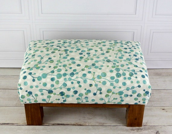 Fabulous Ottoman Footstool Wooden Foot Stool Small Footstool Seaglass Decor Small Stool Wood Ottoman Foot Rest Seating Wood Stool Squirreltailoven Fun Painted Chair Ideas Images Squirreltailovenorg