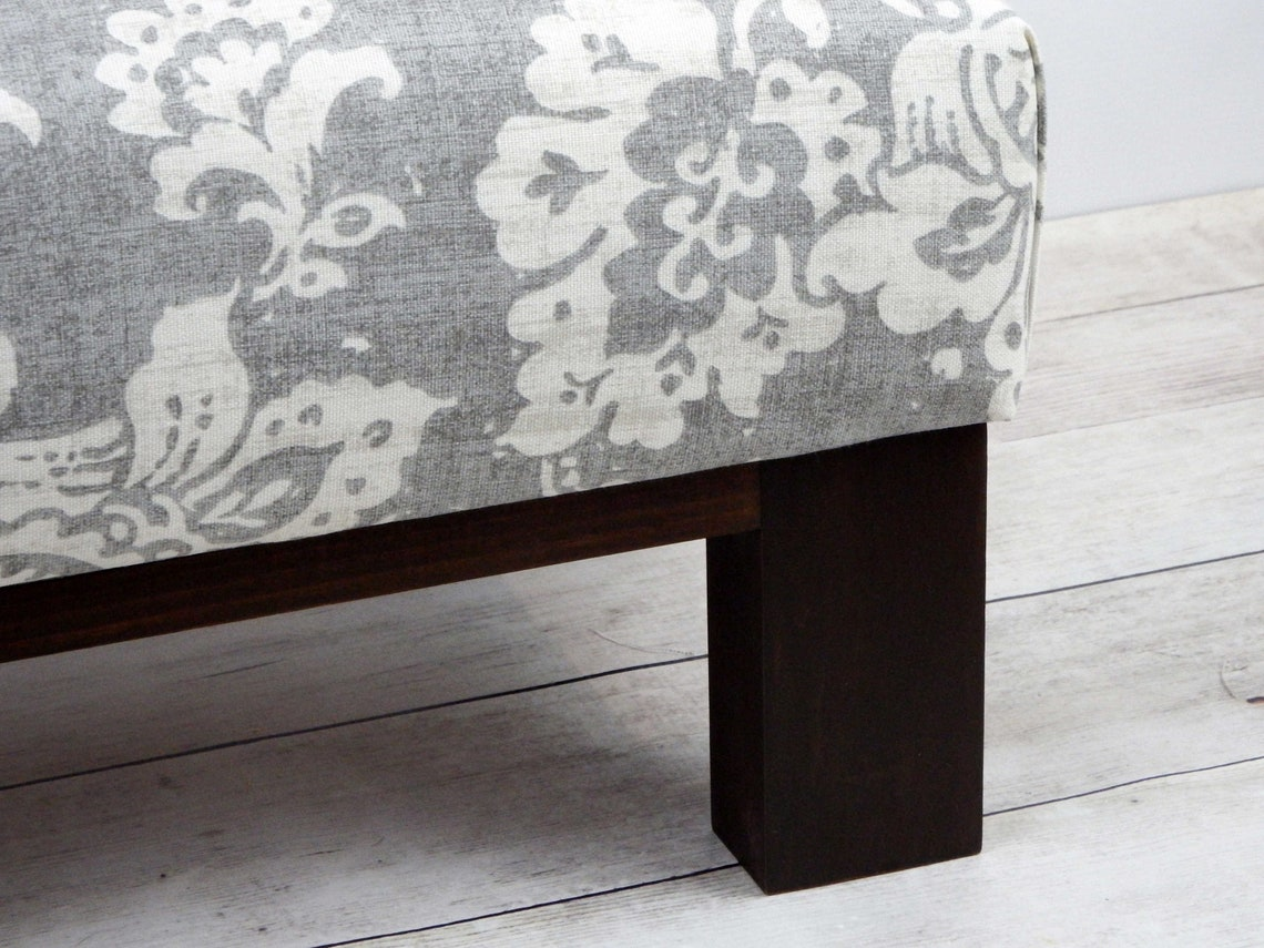 Gray floral footstool - gray patterned ottoman - upholstered ottoman pouf - farmhouse furniture
