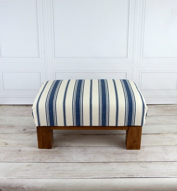 Awesome Foot Stool Nautical Decor Striped Ottoman Lake House Furniture Rustic Wood Furniture Small Footstool Beatyapartments Chair Design Images Beatyapartmentscom