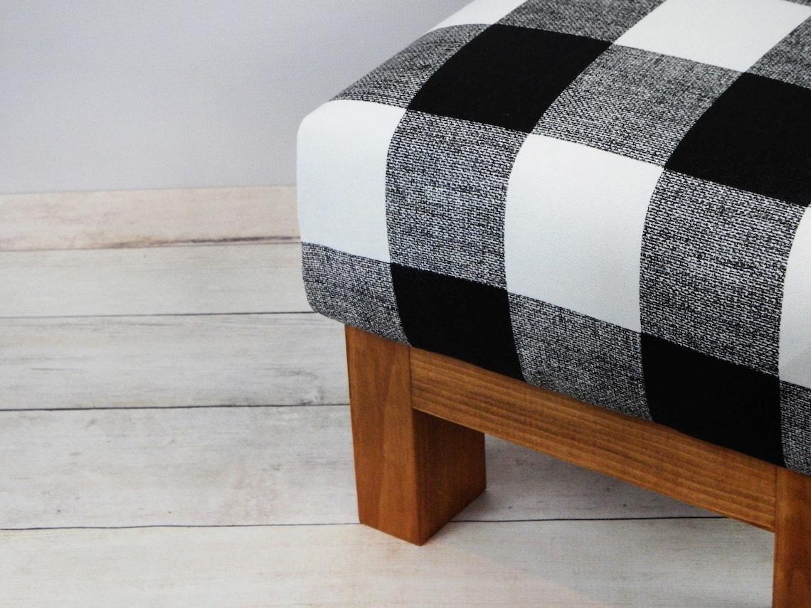 Rustic foot stool plaid buffalo black and white - upholstered ottoman buffalo check - fabric ottoman - footstools - pouf