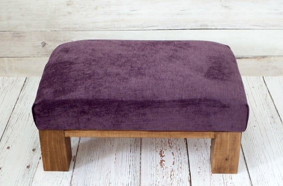 Peachy Velvet Ottoman Purple Ottoman Velvet Furniture Velvet Upholstery Small Ottoman Purple Living Room Decor Rustic Furniture Ottoman Pabps2019 Chair Design Images Pabps2019Com