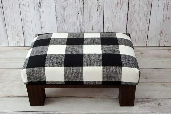 Brilliant Rustic Furniture Foot Stool Plaid Upholstered Ottoman Plaid Black White Footrest Buffalo Check Fabric Ottoman Footstools Pouf Bralicious Painted Fabric Chair Ideas Braliciousco