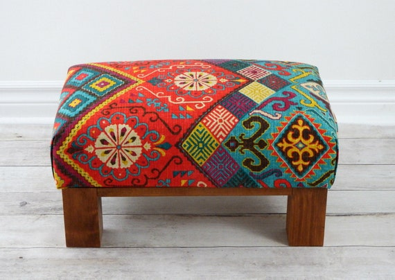 Pleasant Southwestern Chic Upholstered Ottoman Rustic Boho Footstool Small Colorful Pouf Low Footstool Theyellowbook Wood Chair Design Ideas Theyellowbookinfo