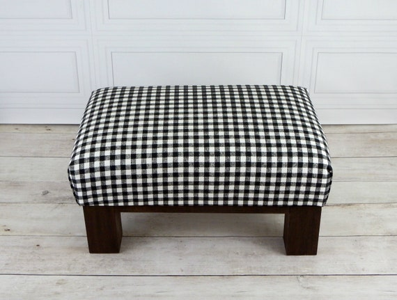 Swell Small Rustic Footstool Upholstered Ottoman Gingham Foot Stool Plaid Ottoman Foot Rest Black And White Pouf Ottoman Customarchery Wood Chair Design Ideas Customarcherynet