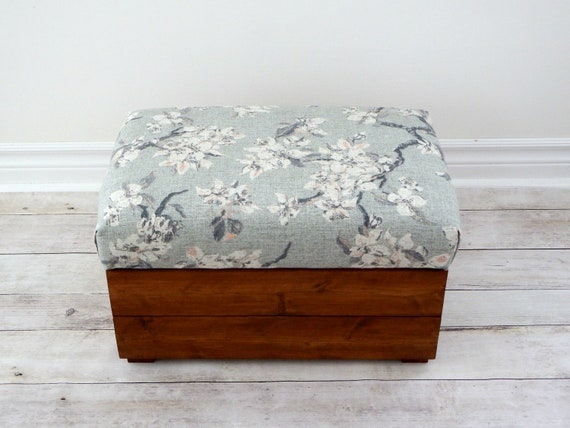 Tremendous Grey Floral Ottoman Rustic Storage Ottoman Footstool With Storage Small Bench Gmtry Best Dining Table And Chair Ideas Images Gmtryco
