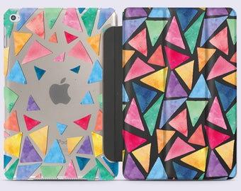 Geometric iPad Pro 9.7 Case Colorful iPad Mini 4 Case iPad 10.5 Tablet Case iPad 2018 Cover Smart iPad 2017 Case Triangles iPad Stand CC5010