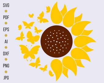 Sunflower Silhouette Etsy