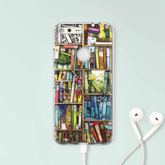 Books Google Pixel Case Clear XL Bookshelf