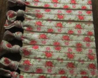 Floral Hair Ties, Flower Hair Ties, Gifts for Her, Flower Party Favors, Valentine's Day Gift, Bridal Favor, Yoga Hair Tie, Hair Tie Bracelet