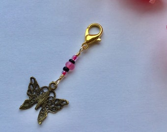 Butterfly zipper pull charm  // Key Purse Charm // Zipper Pull Charm // Planner Charm // Pink // Clear // Beads //Gift for her