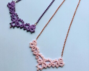 Tatting lace necklace with beads // Tatted necklace with beads //Gift for her
