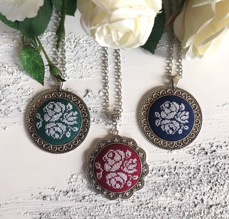 Embroidered neclase,crossstitch pendant,rose pendant,petit point jewelry,christmas gift,burgundy neclase,dark blue neclase,green neclase