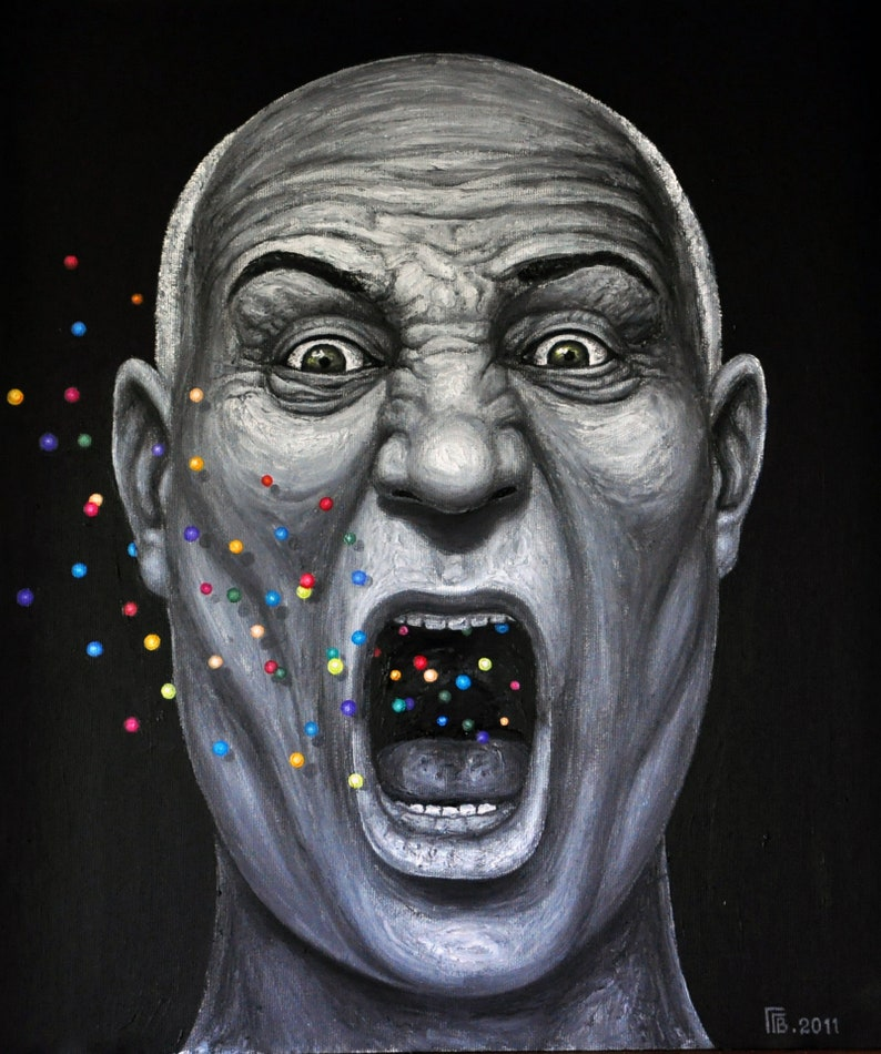 ORIGINAL Oil Painting Hitchcock // Surrealistic | Etsy