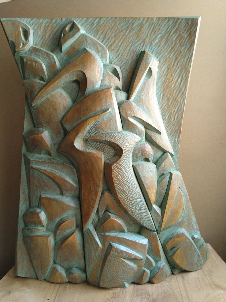 ORIGINAL Large Wood Wall Sculpture