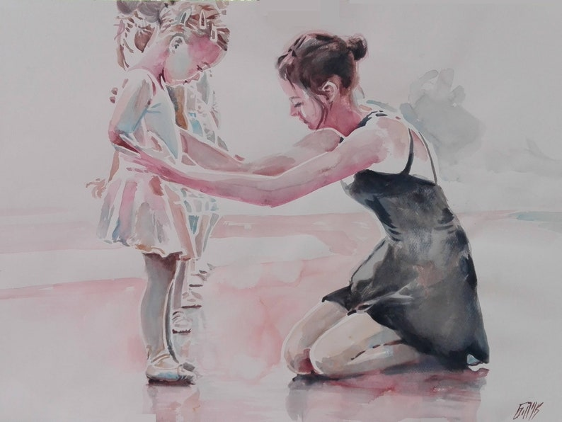 323f4dd128 ORIGINAL Large Watercolor Painting Ballet Lesson