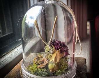 Real Wishbone Carnation And Crystal Acrylic Hanging Dome