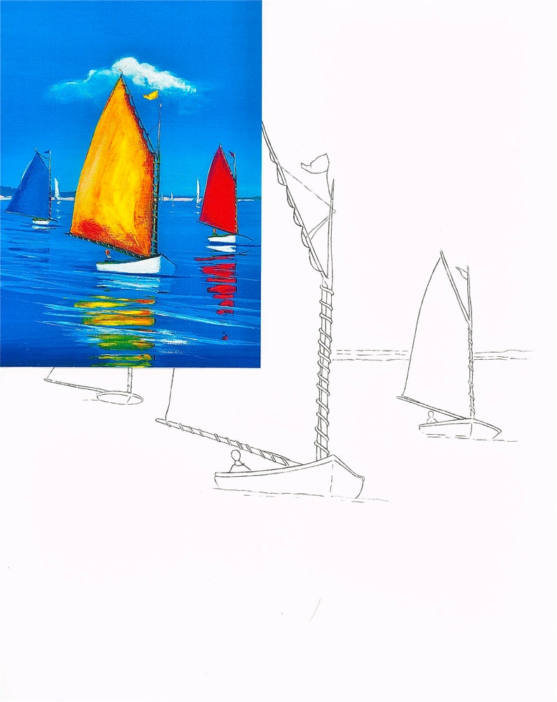 WHOLESALE for shops Personalized gift Sailboats Picture #120 DIY paint party kits Pre-sketched coloring /& watercolor kits