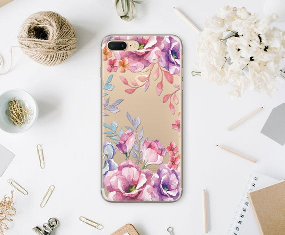 Floral Iphone Case Iphone Se Samsung Galaxy S7 Clear Case Etsy