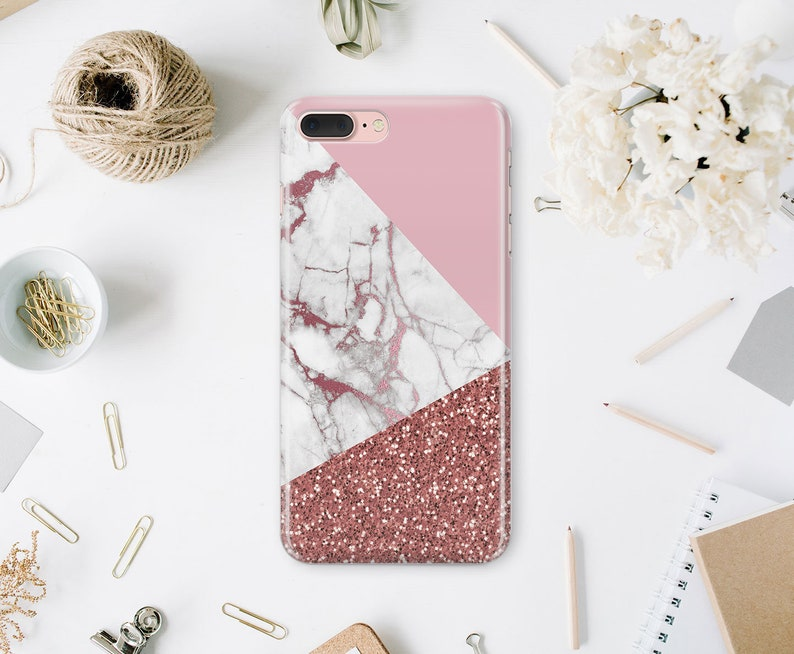 newest a1ab8 90765 Rose Gold iPhone 7 Plus Glitter iPhone 6S Case White Marble iPhone 6 Hard  Case iPhone 8 Marble iPhone SE Cover For Samsung S6 Edge WA1169