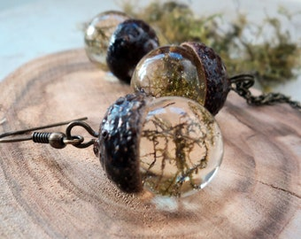 Moss Acorn jewelry set, Epoxy Resin Jewelry with Natural Moss and Acorn Cap, Woodland Botanical Jewelry Acorn Pendant with Green Moss