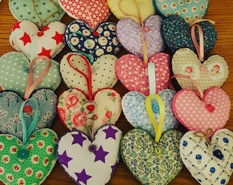 Handstitched Hanging Hearts - Mothers Day Gift, Valentines Gift, Fabric Hearts, Hanging Love Decoration, Handmade Gift