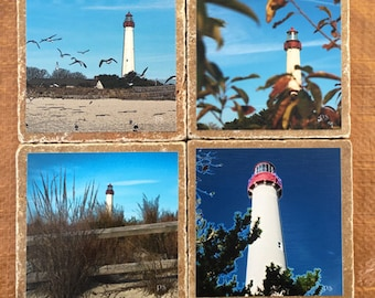 Set of 4 Drink Coasters - Cape May Lighthouse