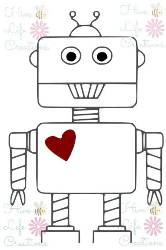 Robot con descarga inmediata del archivo de corazón la   Etsy