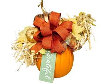 Fall Decor, Copper Cornstalk Pumpkin Centerpiece Arrangement, Thanksgiving Decoration, Orange Pumpkin with Floral Pick and Bow