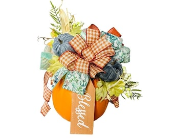Fall Decor, Pumpkin Centerpiece Arrangement with Blue Accents, Thanksgiving Decoration, Orange Pumpkin with Floral Pick and Houndstooth Bow