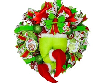Grinch Wreath, Grinch Red and Green Door Decor, Dr. Seuss and Max Whoville Wall Decor, Grinch Stuffed Butt Legs and Feet