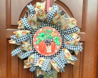 Thin Storm Door Fall Thanksgiving Wreath, Black and White Buffalo Check Pumpkin, Skinny Pancake Door Decor