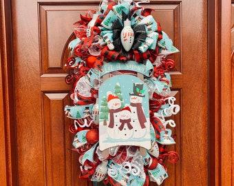 Christmas Wreath, Snowman Family Swag, White and Aqua Sled Wall Decor, Black and Red Buffalo Check