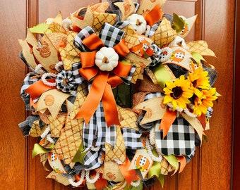 Fall Wreath, Sunflower Pumpkin Decor, Harvest Wall Decor, Orange Brown Wreath, Black White Buffalo Check Plaid Wall Decor