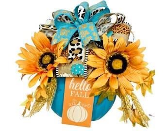 Fall Decor, Blue Pumpkin Leopard Cheetah Animal Print Sunflower Centerpiece, Thanksgiving Decoration, Teal Aqua Turquoise and Orange