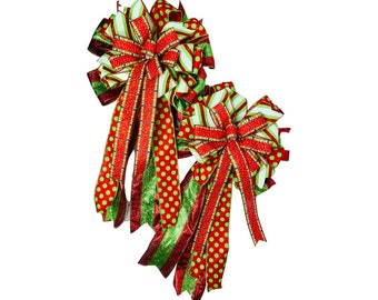 Pair of Christmas Bows, Two Large Green and Red Traditional Bows, Lantern Staircase Mailbox Bows, Tree Topper, Two Big Fluffy Holiday Bows