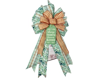 Fall Thanksgiving Bow, Thankful Blessed Tag with Muted Green and Blue Floral and Orange Houndstooth Ribbon, Lantern Swag Door Decor