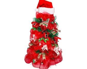 """Tomato Cage Tree, Red Santa Hat Christmas Tree 36"""" tall Pre-Decorated"""