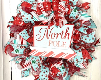 Christmas Wreath, Cute Winter Door Decor, Non-Traditional Color Wreath, North Pole Red and Wintergreen Blue