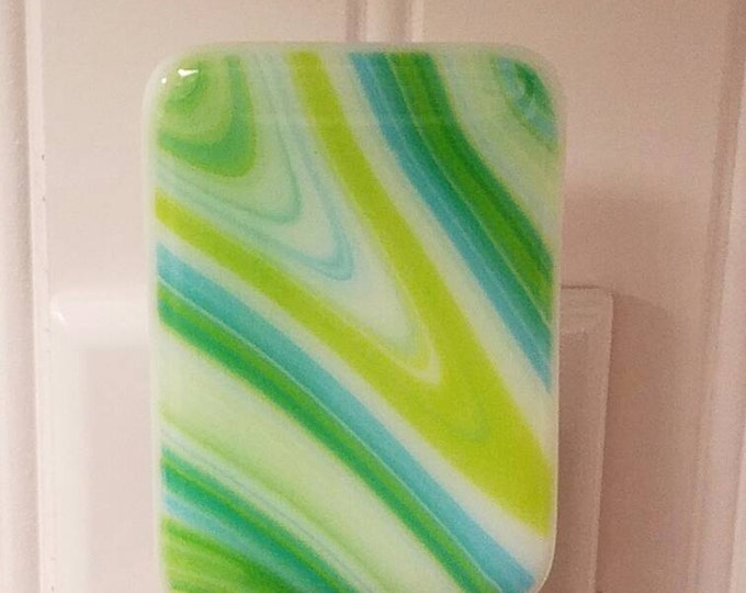 Fused Glass swirl turquoise, green and white Night Light
