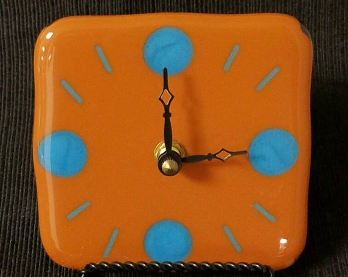Fused glass tabletop/desk clock  - terra cotta and turquoise