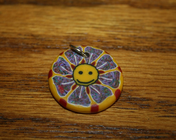 Happy Face Flower Polymer Clay Pendant