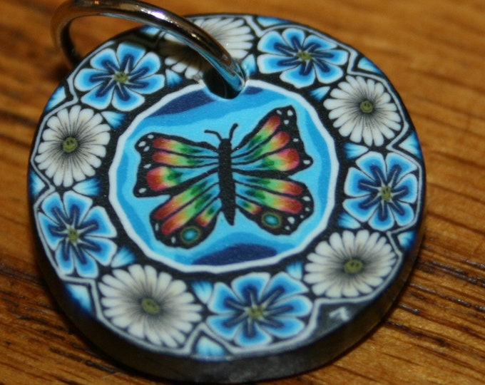 Rainbow Butterfly Flowers Polymer Clay Pendant