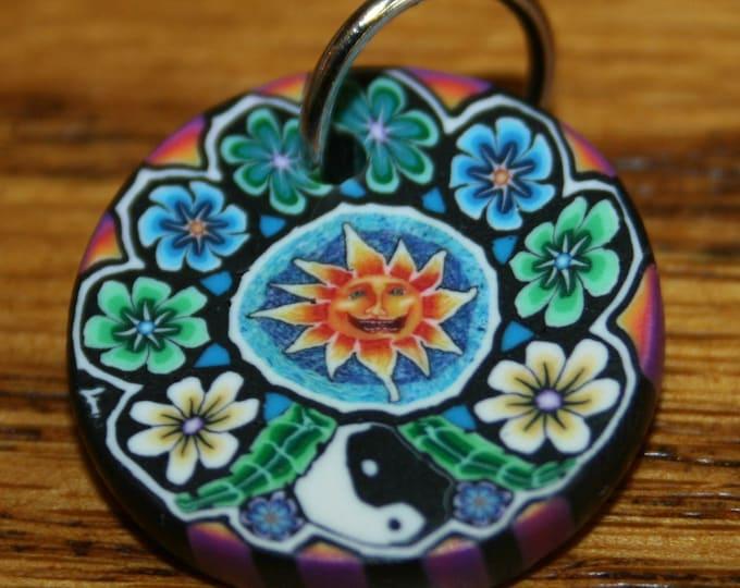 Sun Face Flowers Yin Yang Polymer Clay Pendant