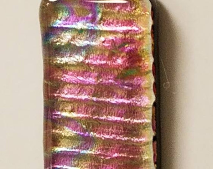 Fused Glass Dichroic Pink Gold Pendant - Kilnfused