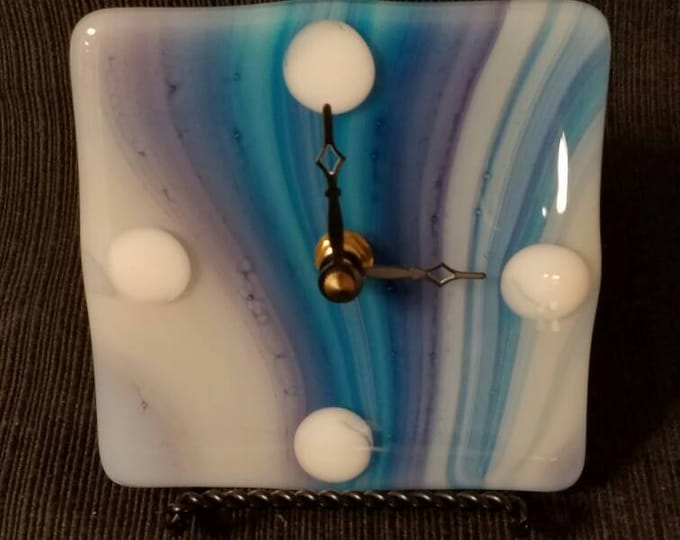 Fused glass tabletop/desk clock   - blue, indigo streaky