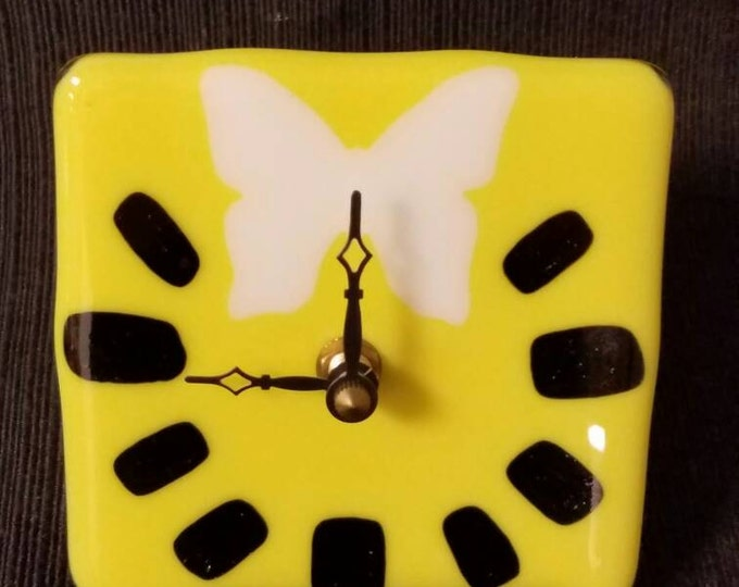 Fused glass tabletop/desk clock  - sunny yellow and white butterfly