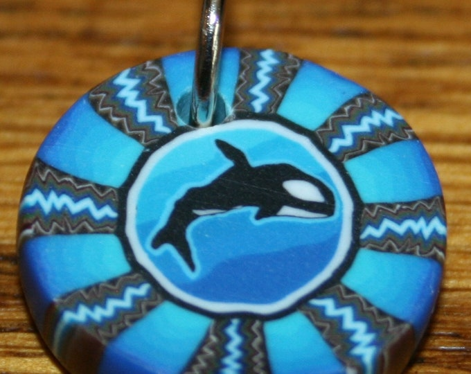 Orca Whale Blue Polymer Clay Pendant