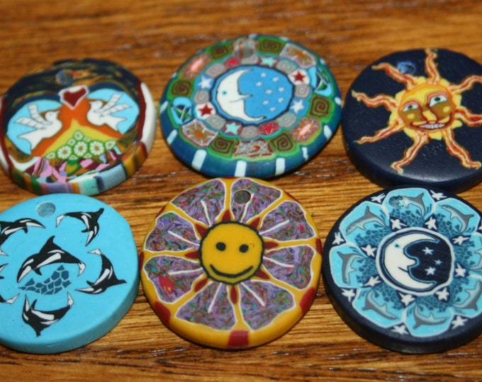 Polymer Clay Pendants - Lot of 6 - Sun, Orca, Peace Doves, Moons, Happy Face