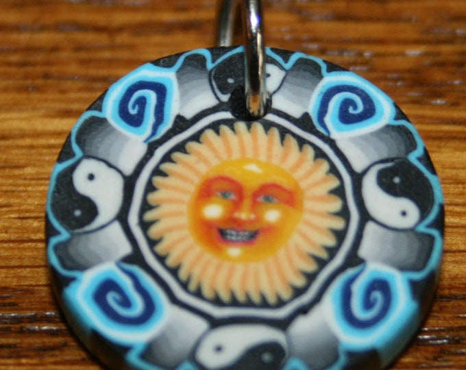 Happy Sun Face Yin Yang Polymer Clay Pendant
