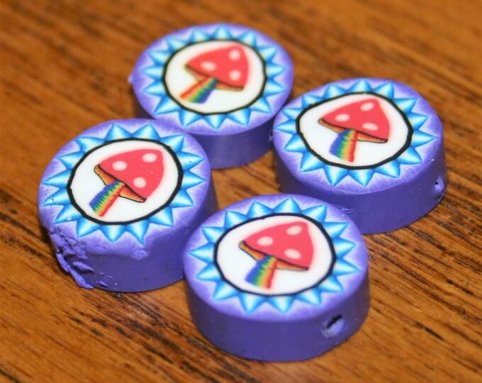 Mushroom Polymer Clay Beads (4)